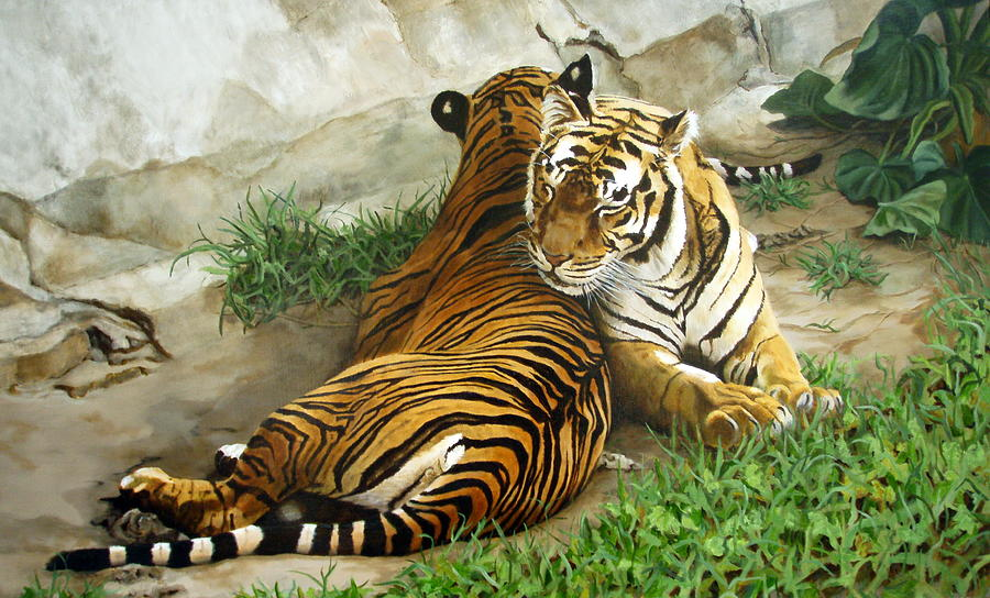 Tiger Painting - Wild Content by Sandra Chase