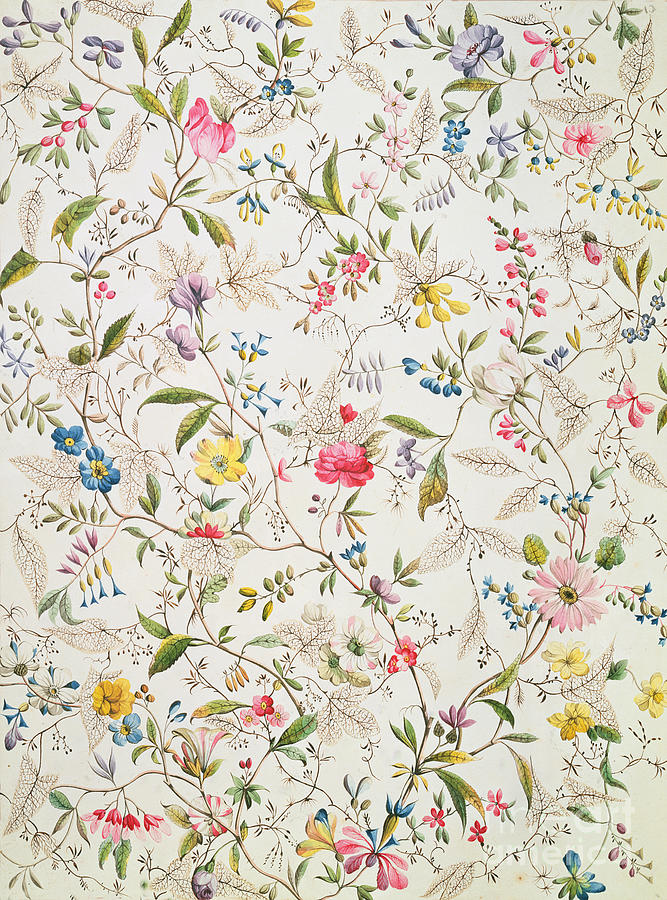 Kilburn Painting - Wild Flowers Design For Silk Material by William Kilburn