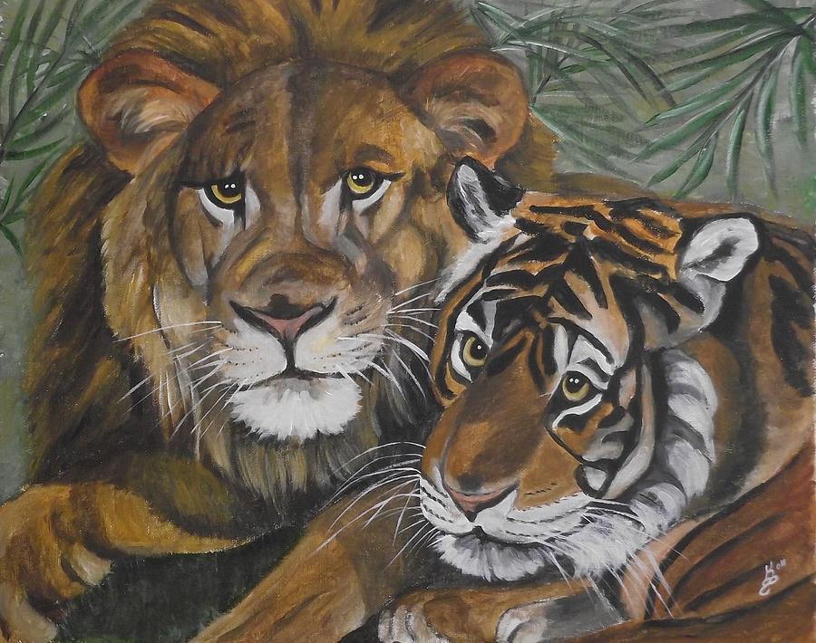 Lion Painting - Wild Friends by Kim Selig
