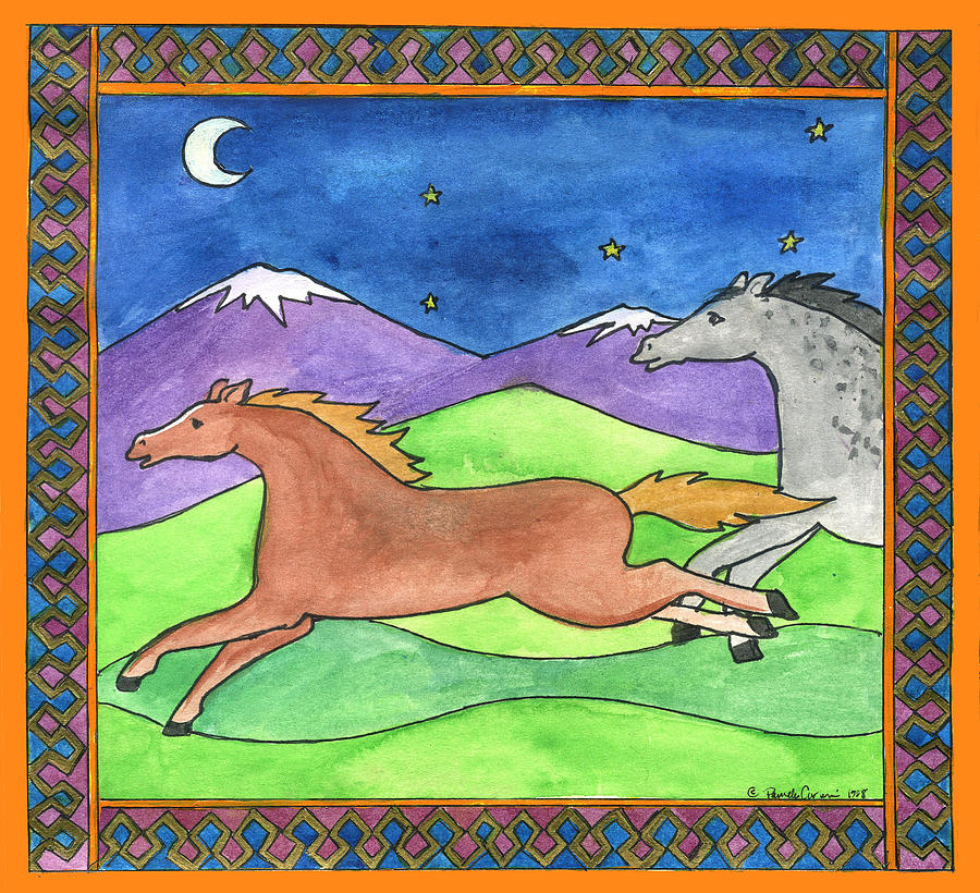 Whimsical Painting - Wild Horses by Pamela  Corwin