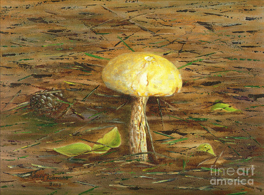 Mushroom Painting - Wild Mushroom on the Forest Floor by Judy Filarecki