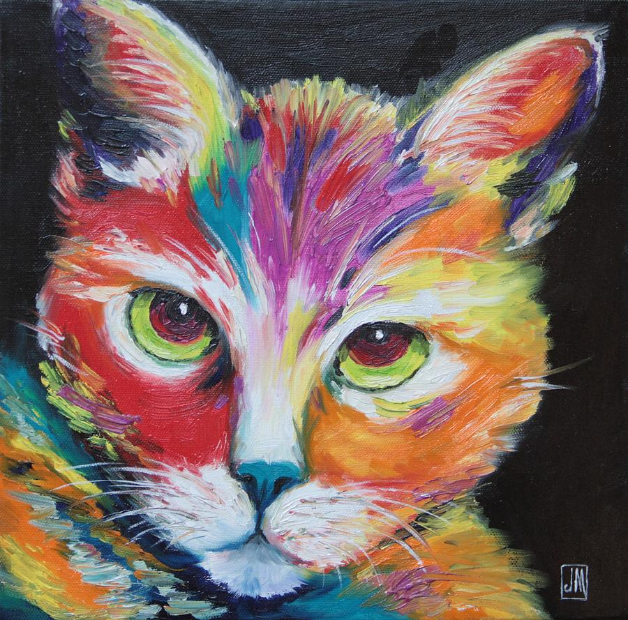Wild one painting by jane mick for Cat paintings on canvas