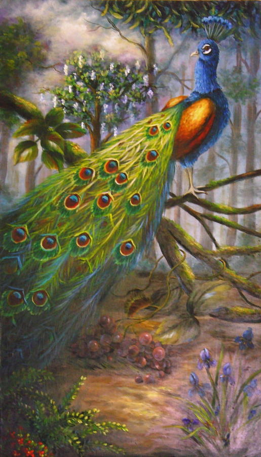 wild peacock painting by gail ruth