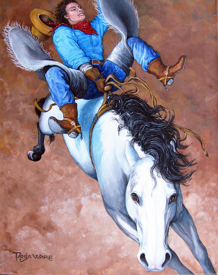 Bronc Buster Painting - Wild Ride by Tanja Ware