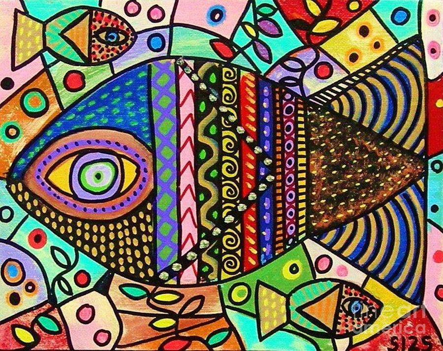 Wild Tribal Rainbow Fish is a painting by Sandra Silberzweig which was ...