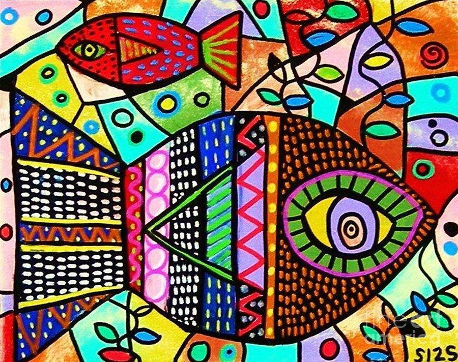 Wild Tribal Zebra Fish Painting By Sandra Silberzweig