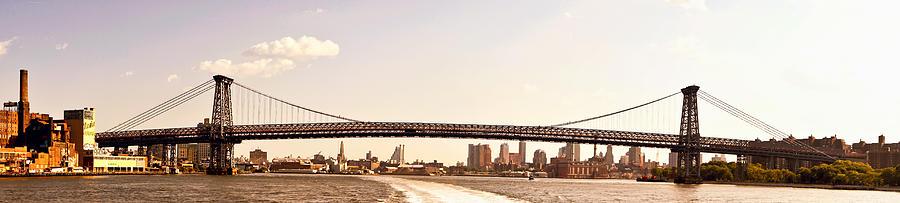 Panorama Photograph - Williamsburg Bridge And The New York City Skyline Panorama by Vivienne Gucwa