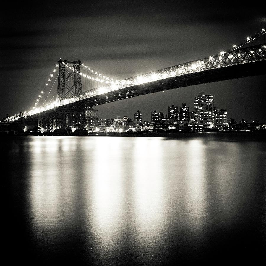 Square Photograph - Williamsburg Bridge At Night by Adam Garelick