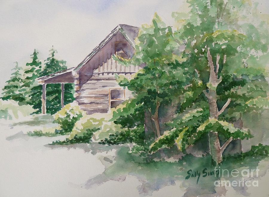 Watercolor Painting - Wills Cabin by Sally Simon