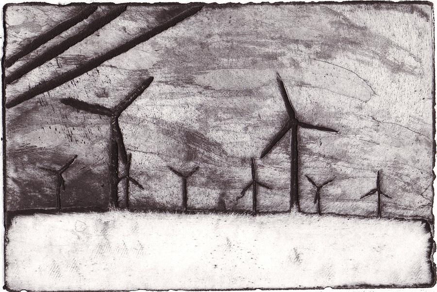 Intaglio Mixed Media - Wind Farming by Taylor Lee Bisbee