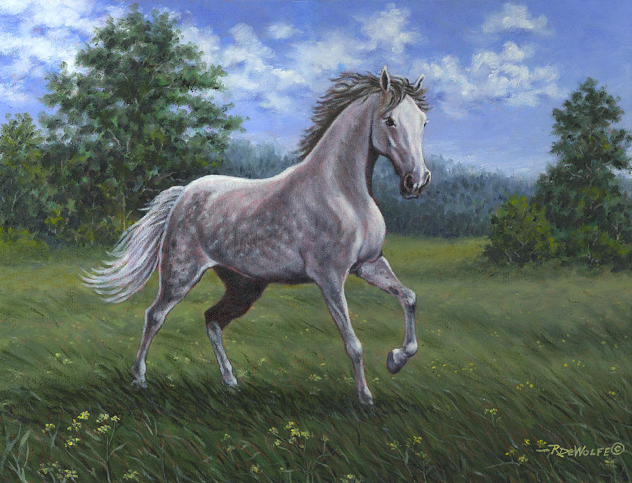 Horse Painting - Wind Song by Richard De Wolfe