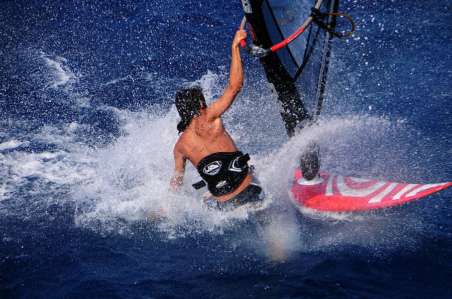 Sea Photograph - Wind Surfing by Manolis Tsantakis