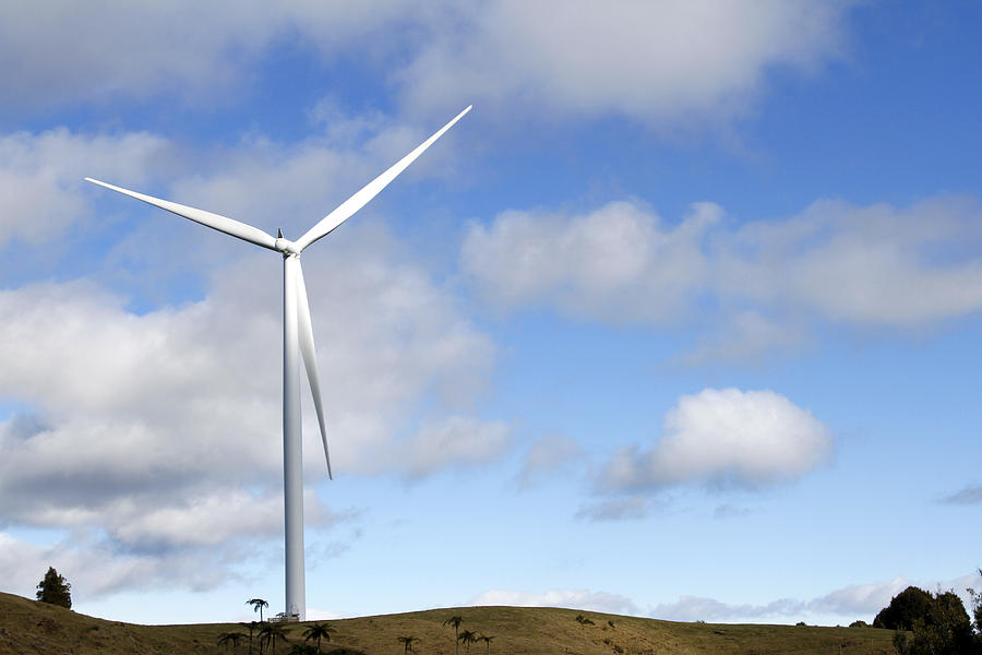 Clouds Photograph - Wind Turbine  by Les Cunliffe