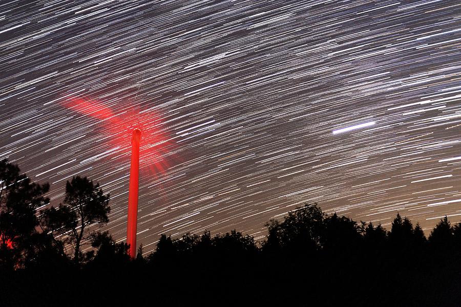 Machine Photograph - Wind Turbine Under Star Trails by Laurent Laveder