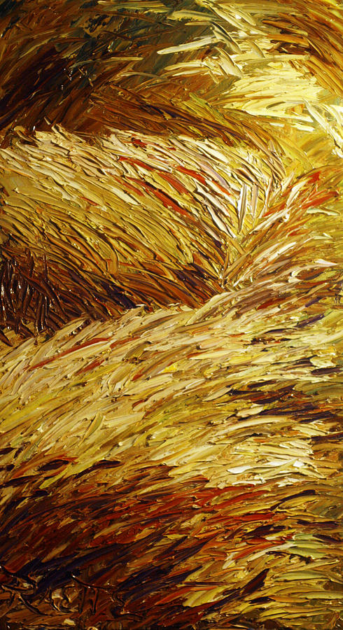 Landscape Painting - Windblown Grass by Raette Meredith