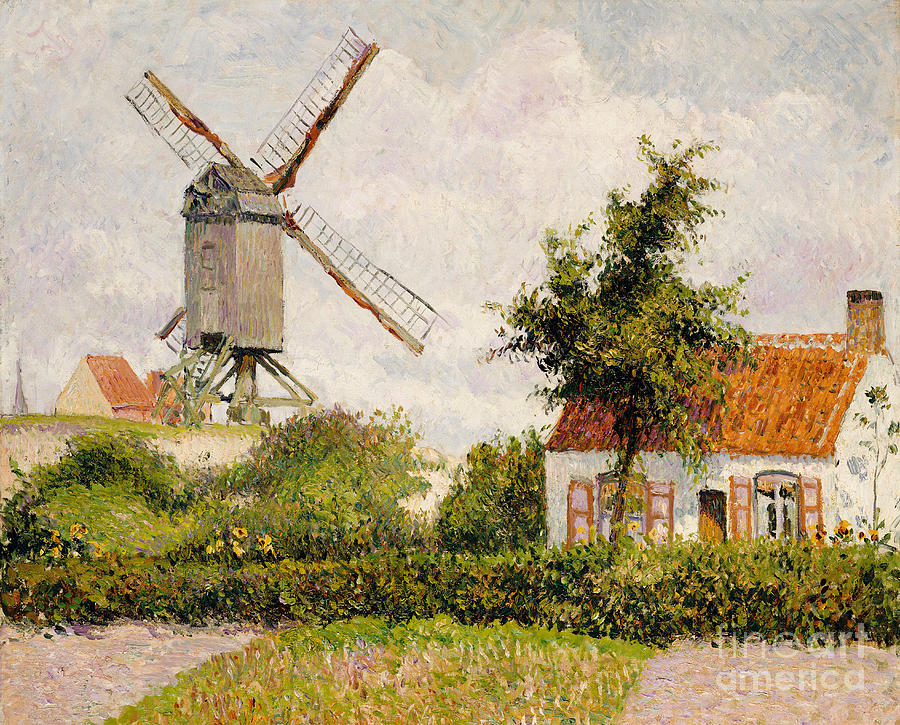 Camille Painting - Windmill At Knokke by Camille Pissarro
