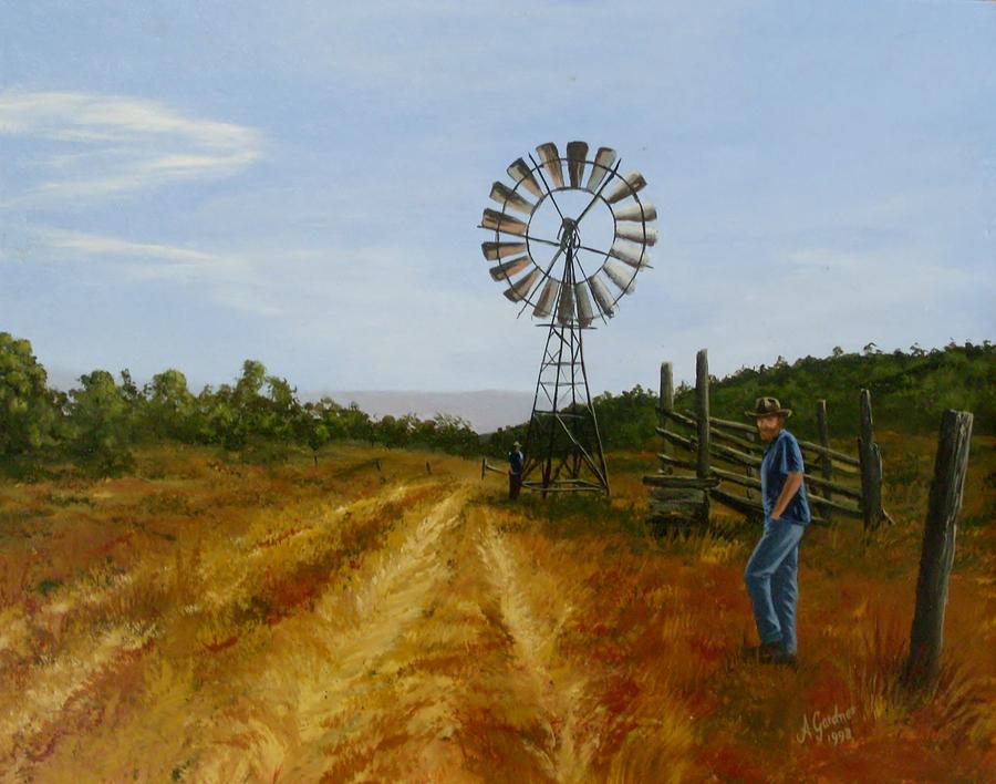 Acrylic Painting - Windmill At Mandagery by Anne Gardner