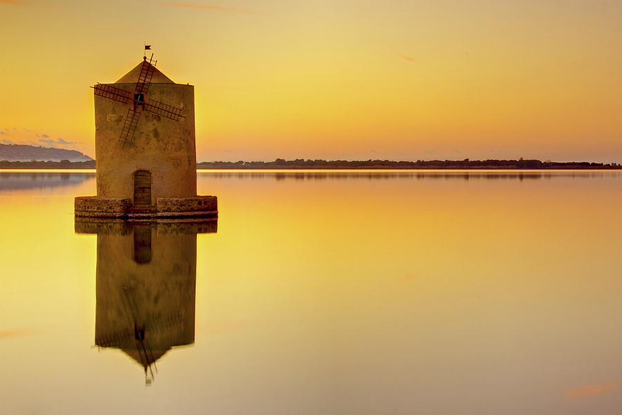 Horizontal Photograph - Windmill At Sunset by by Andrea Pucci