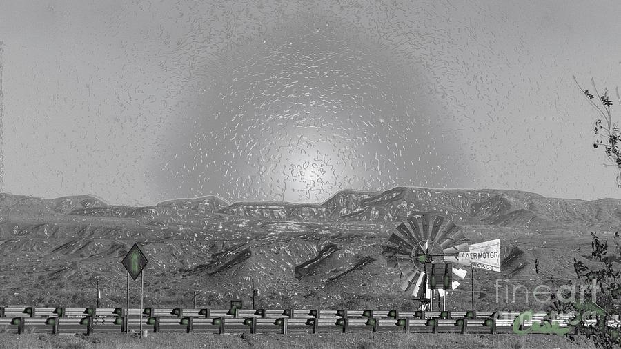 Windmill Digital Art - Windmill Glowin Landscape by Feile Case