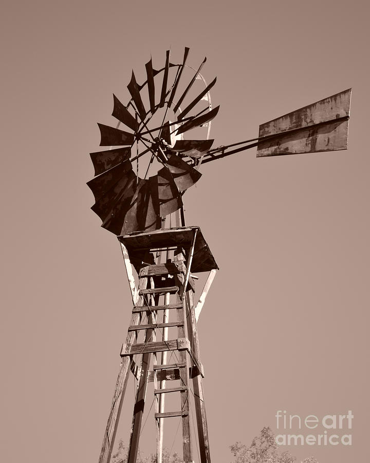 Windmill Photograph - Windmill Sepia by Rebecca Margraf
