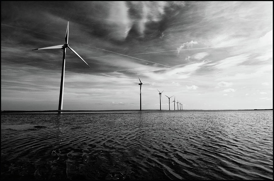Horizontal Photograph - Windmills Out At Sea by Kenneth McNeil
