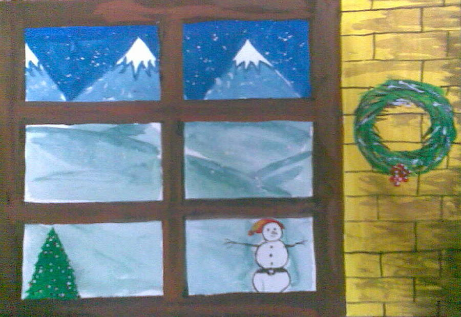 Window pane in winter during christmas painting by for Painting on glass windows with acrylics
