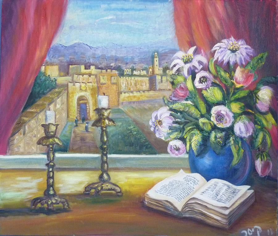 Window Painting - Window View To Jerusalem by Sara Kesar