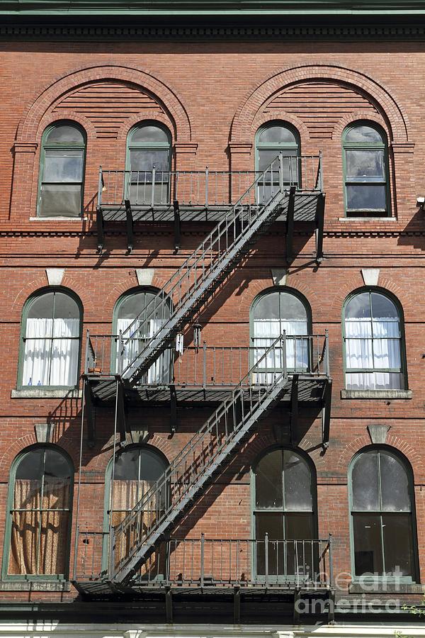 Bangor Photograph - Windows And Fire Escapes Bangor Maine Architecture by John Van Decker