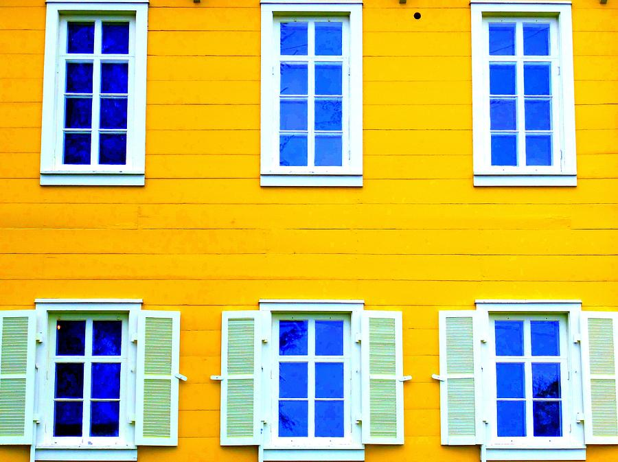 Architecture Photograph - Windows On Yellow by Randall Weidner