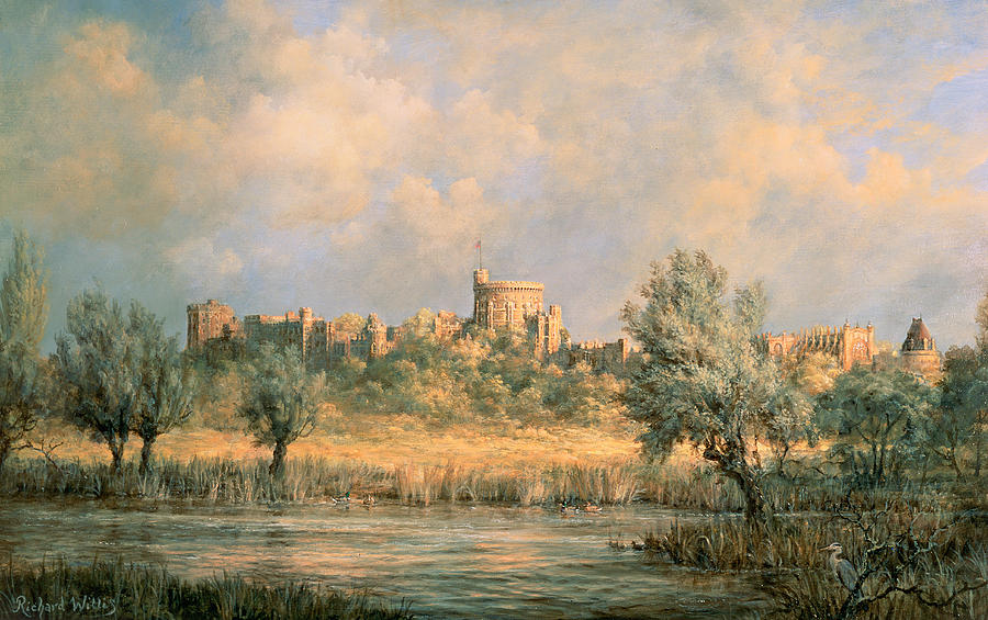 Windsor Castle - From The River Thames Painting by Richard ...