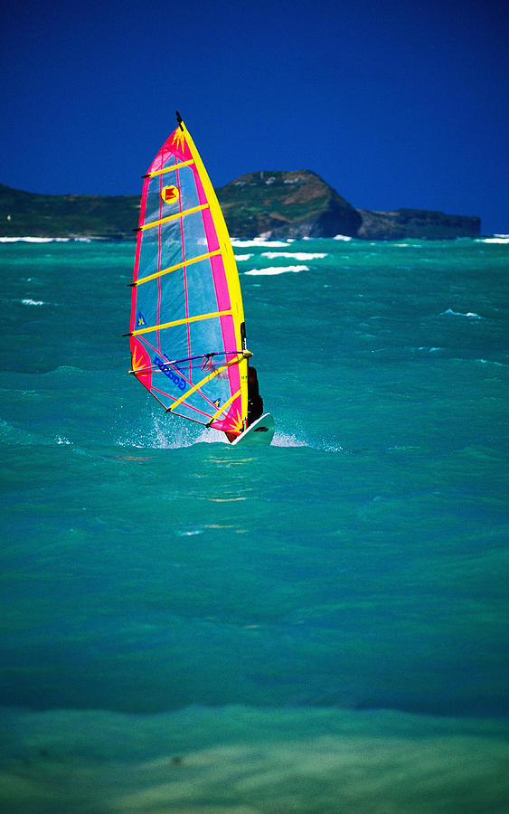 Vertical Photograph - Windsurfer On The Shores Of Kailua Beach, Kailua, United States Of America by Ann Cecil