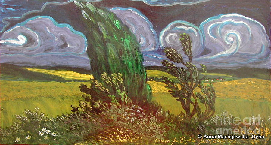 Paintings Painting - Windy Day by Anna Folkartanna Maciejewska-Dyba