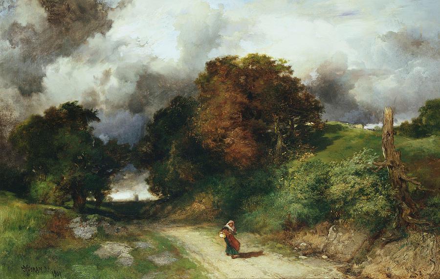 Thomas Moran Painting - Windy Hilltop by Thomas Moran