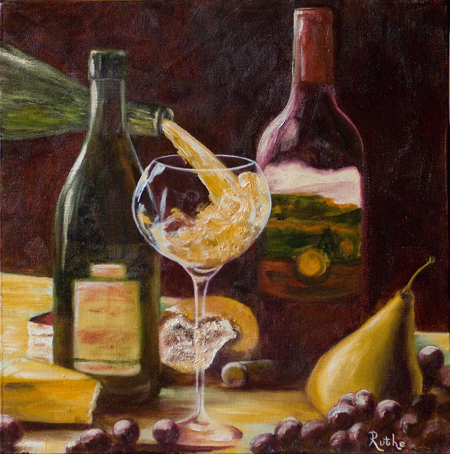 Wine and cheese painting by ruthe dawes for Painting and wine