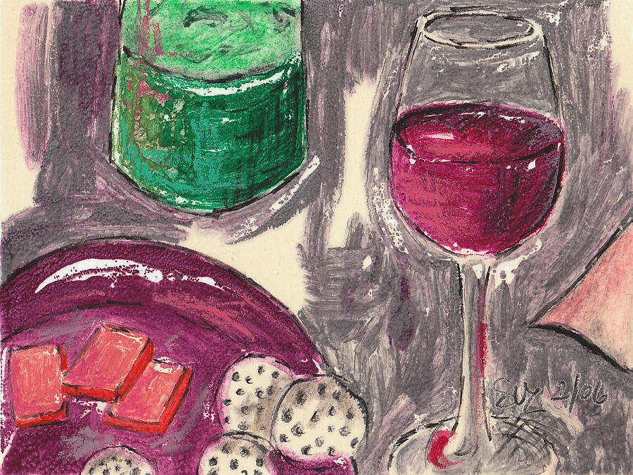 Red Wine Mixed Media - Wine And Cheese by Suzanne Blender