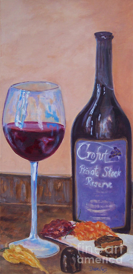 Wine Painting - Wine And Chocolate by Alicia Drakiotes