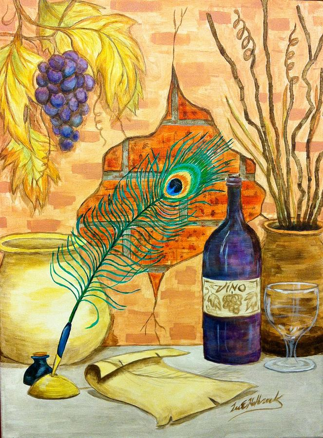 Peacock Painting - Wine And Feather by Lee Halbrook