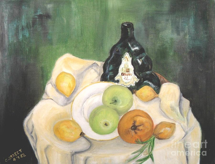Still Life Painting - Wine And Fruit by Caroline Street