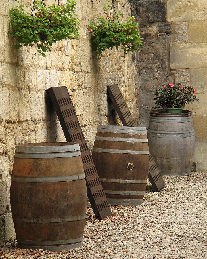Wine Barrels Photograph - Wine Barrels And Racks In Saint Emilion France by Greg Matchick