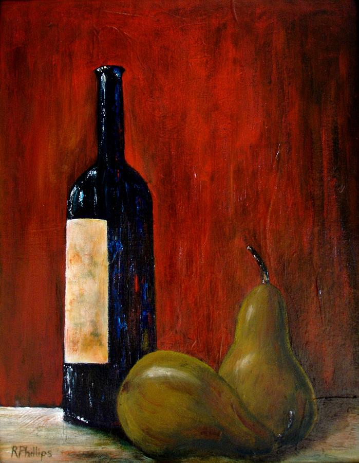 Wine Painting - Wine Bottle And Two Pears by Rosie Phillips