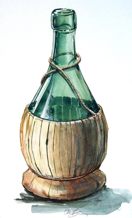 Wine Bottle Drawing by Olin McKay