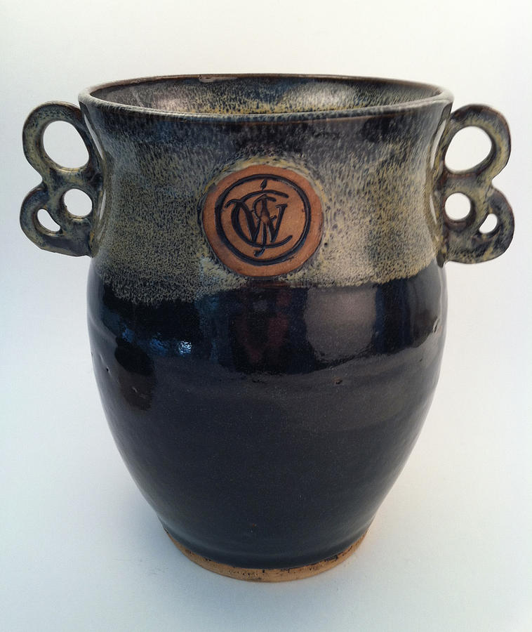 Hand Made Ceramic Art - Wine Chiller Or Vase With Licorice And Light Beige Glaze  by Carolyn Coffey Wallace
