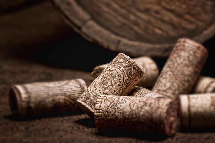 Aged Photograph - Wine Corks And Barrel Still Life by Tom Mc Nemar
