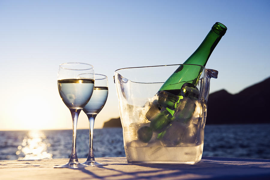 Horizontal Photograph - Wine Glasses And Bottle Outdoors by Bill Holden
