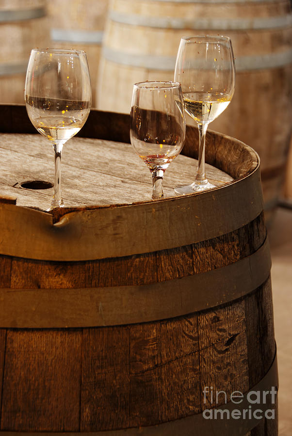 Alcohol Photograph - Wine Glasses On An Old Wine Barrel  by Michael Gray