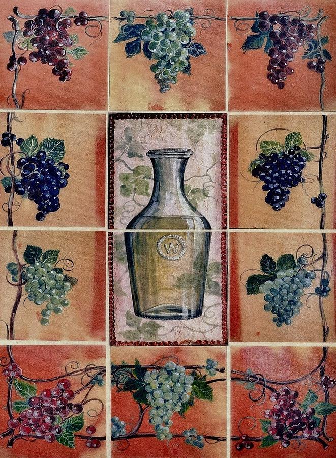 Wine Grape Mural Ceramic Art by Andrew Drozdowicz