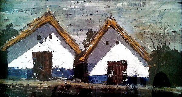 Landscape Painting - Wine Houses by Joe Tiszai