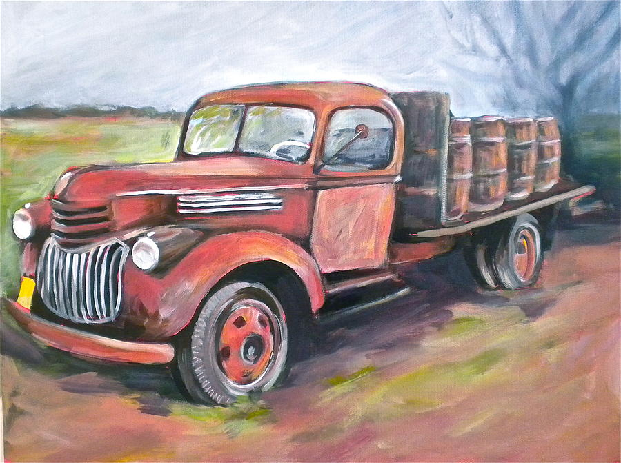 Truck Painting - Wine Truck by Paula Strother