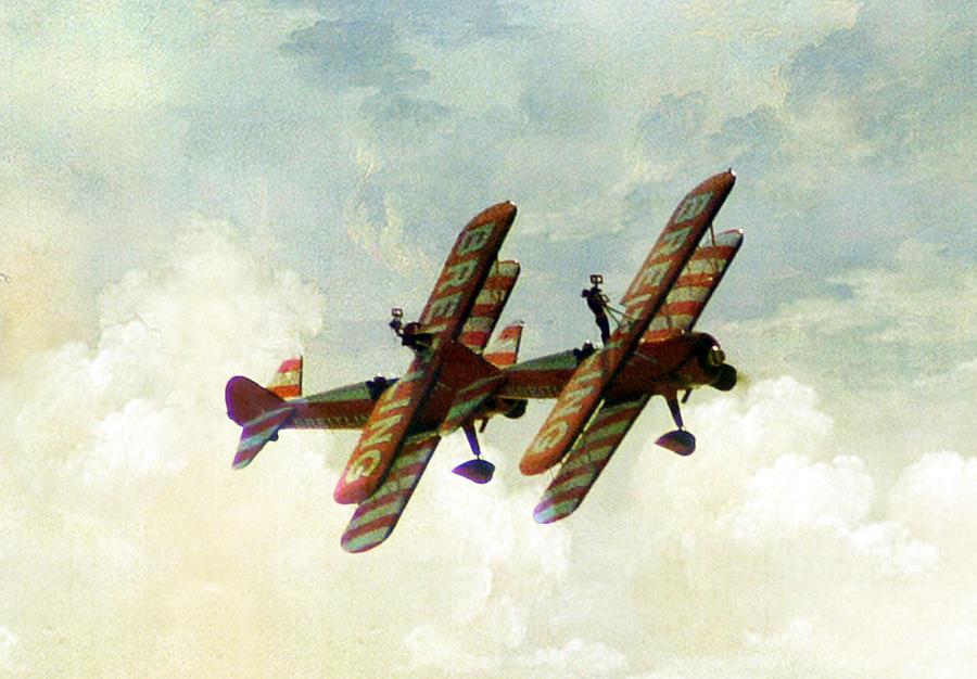 Plane Photograph - Wing Walkers by Jacqui Kilcoyne