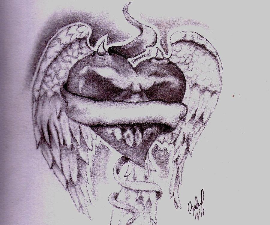 Winged Heart Drawing by Gabriel Hockett